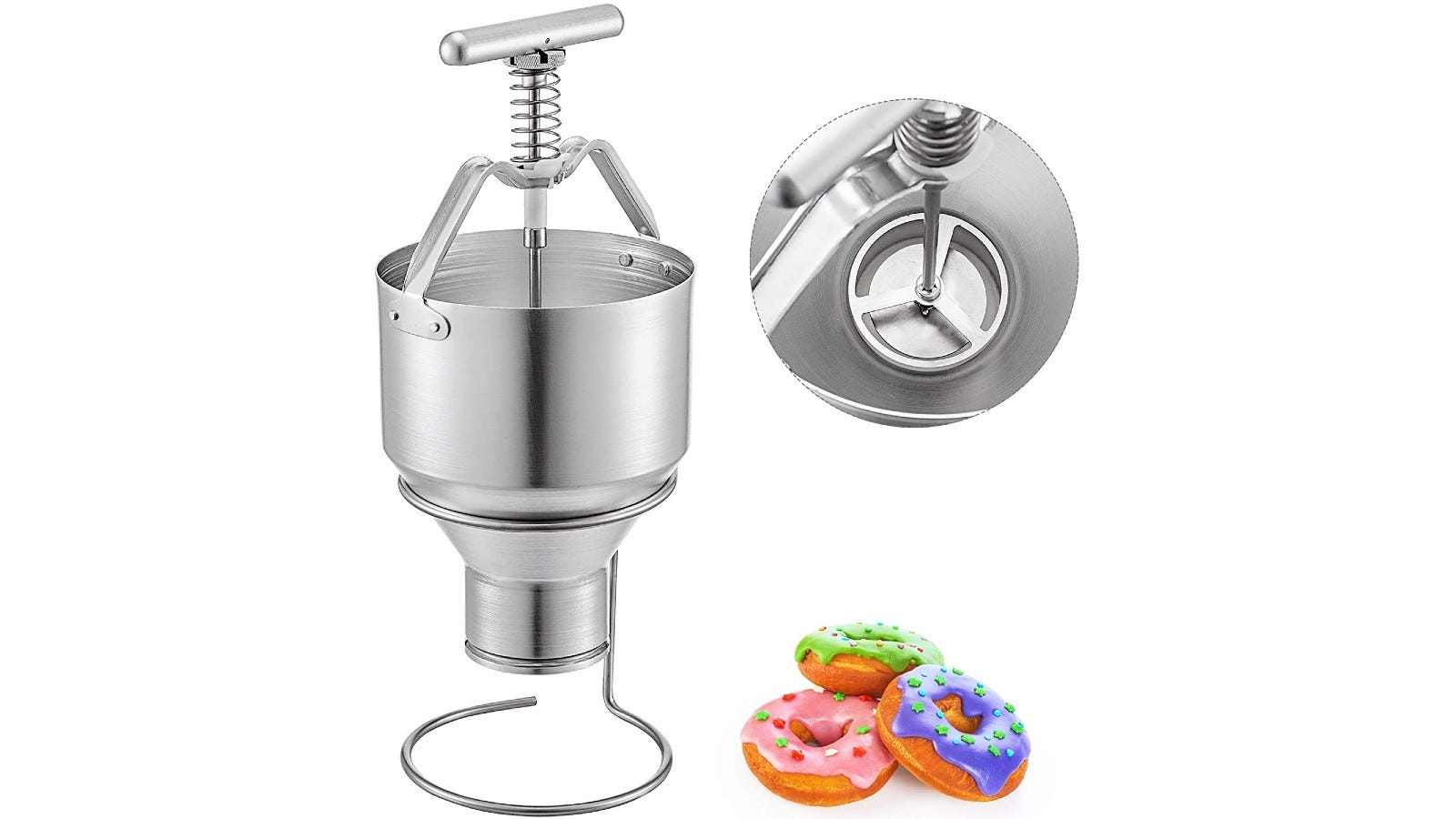 A manual donut dispenser made of aluminum and stainless steel