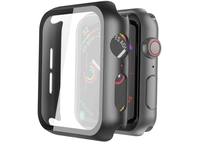 Black Apple Watch case with tempered glass screen protector