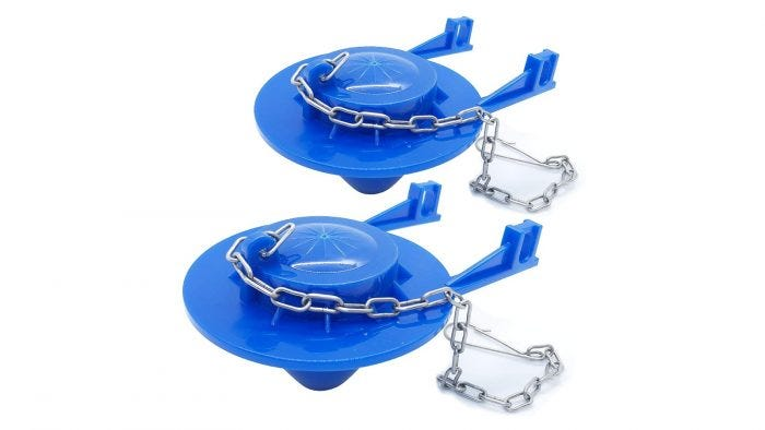 This blue toilet flapper features a stainless chain
