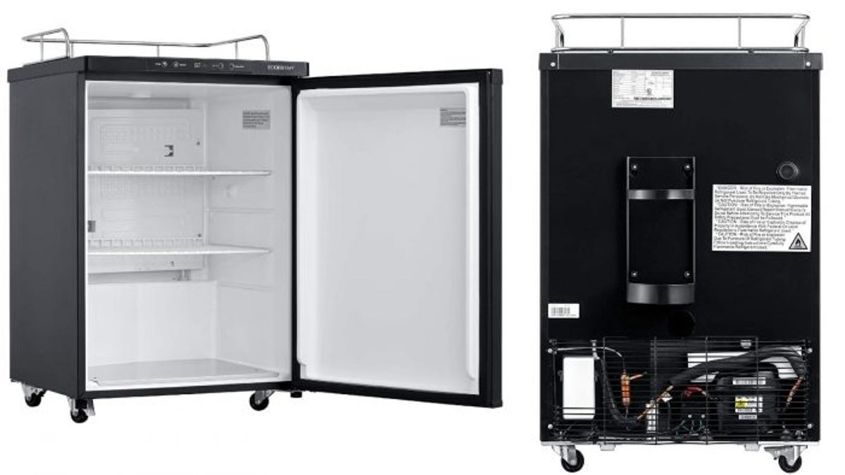 A open kegerator with a guard rail on the left, and the rear view of the kegerator on the right.
