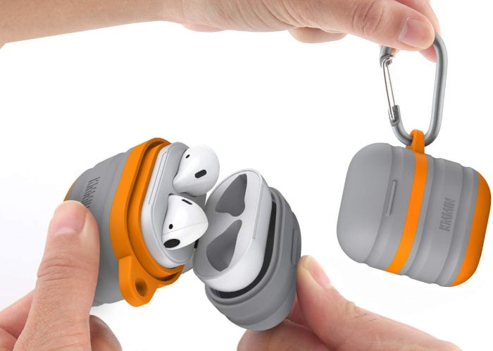 Waterproof AirPods case with unique two-tone orange and gray color and small carabiner