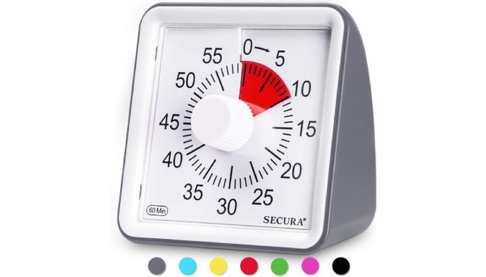 White display countdown timer with red disc to show how much time is left.