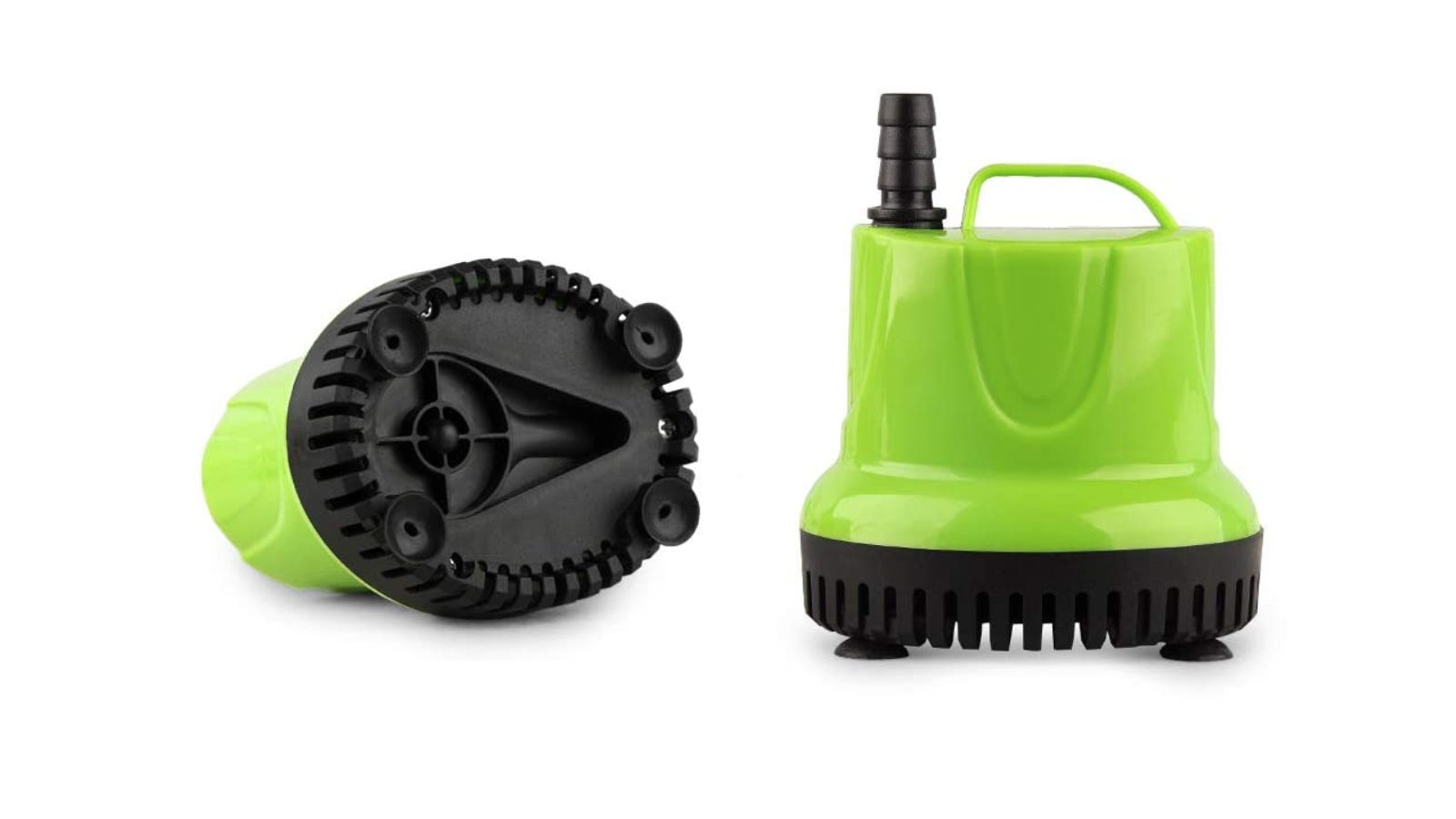 The green and black FREESEA water pump laying on its side on the left of the picture. On the right, a sideview of the same water pump.