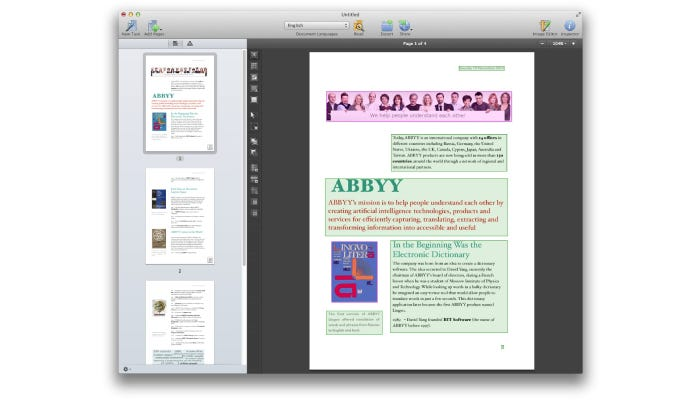 OCR converted text on a computer screen
