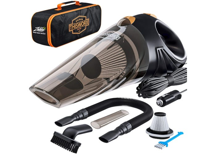 Black and orange cordless car vacuum pictured with extra-long power cord, HEPA filter, carrying case, and three vacuum attachments.