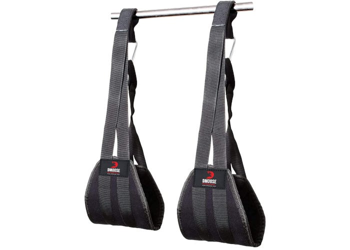 Durable black ab straps with silver carabiners that connect to pull-up bar for a variety of hanging abdominal exercises