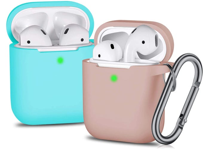 Two-pack of soft AirPads cases (mint green and milk tea colors) with carabiner attached