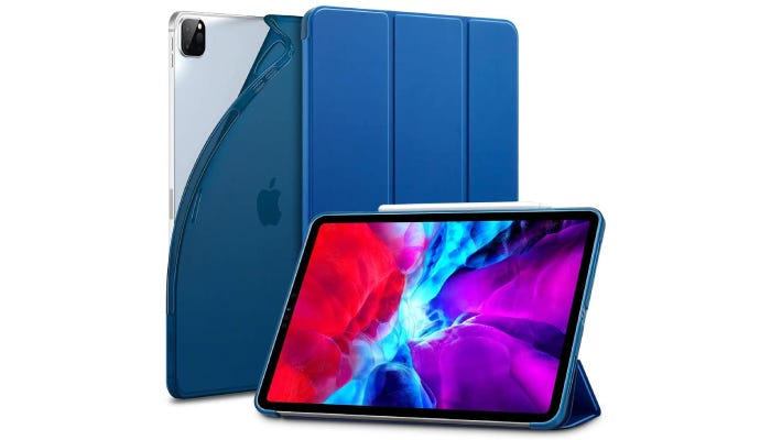 an iPad with a blue case that folds to show it standing up the device