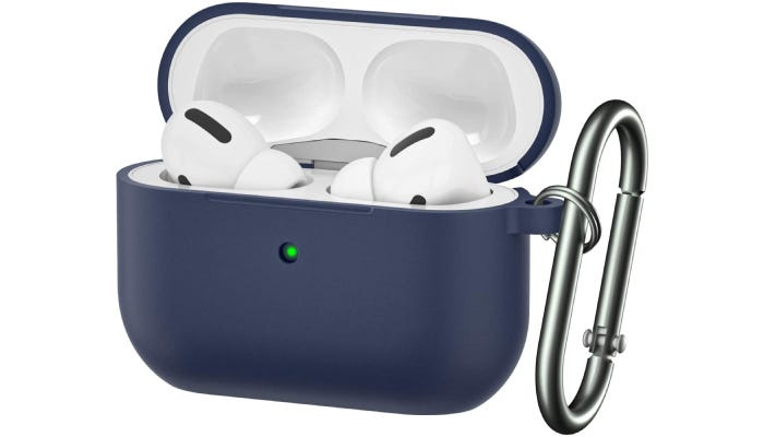 A navy blue silicone case slip with a green LED charging indicator on the front and a steel carabiner clip to its left.