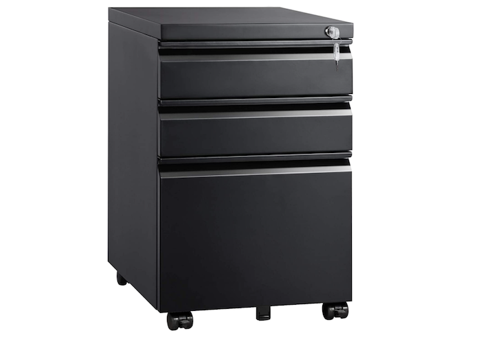 A textured vertical black filing cabinet with wheels and three drawers.