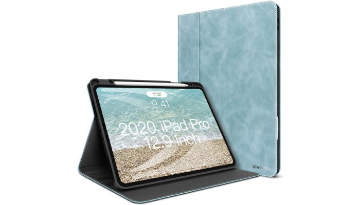 view of the front of a blue leather iPad case and view of the device standing up with the case folded to support it