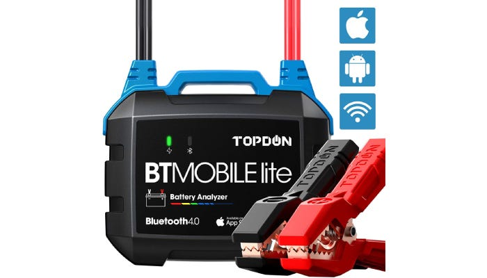 Car battery tester with clamps and icons for Mac, Android, and WiFi