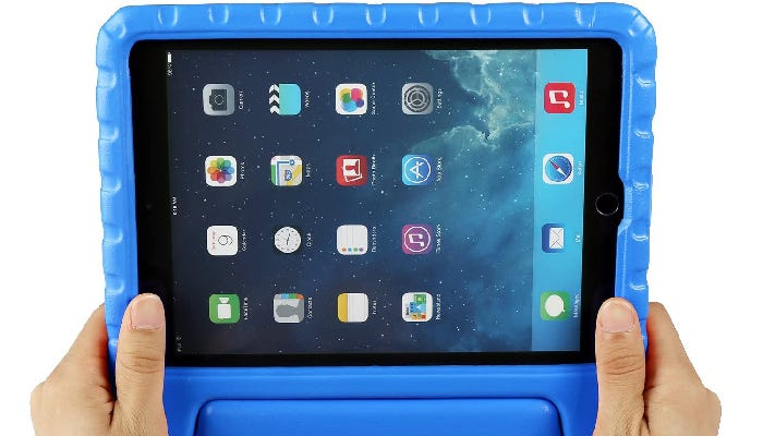 Two hands hold a blue iPad case against a white background.