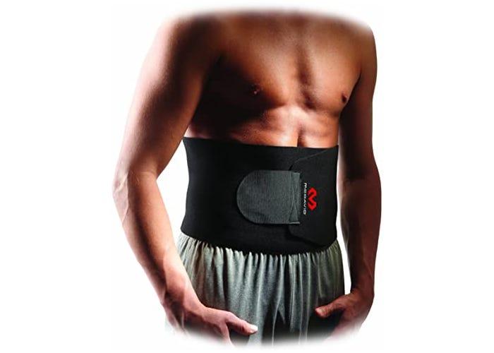 a man wears a black waist trainer around his bare abdominals