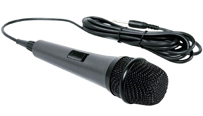 A wired microphone is shown resting on a white background.
