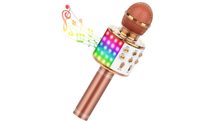 A rose gold microphone with gold accents and buttons, as well as an LED light panel is shown with colorful musical notes coming out of it against a white background.