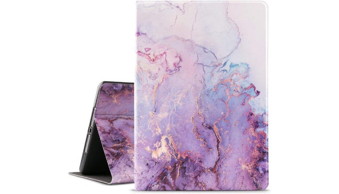 A purple iPad case with a marble design is shown against a white background.