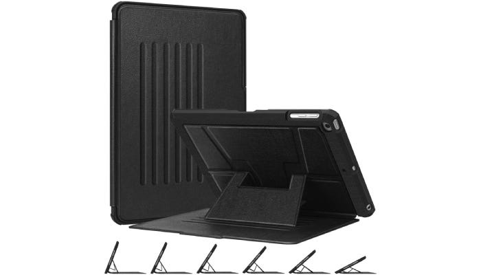 A black iPad case with a kickstand is shown open and closed against a white background. On the bottom, the kickstand is shown at six different angles.
