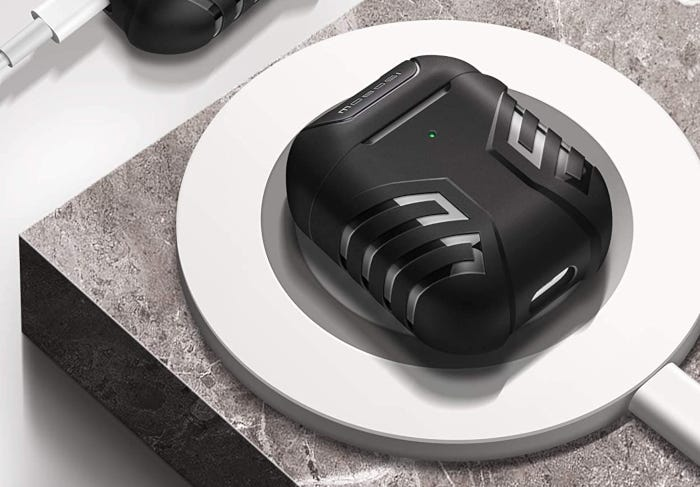 Black AirPods case with unique, textured design that includes removal tool and carabiner