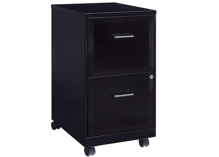 A vertical black filing cabinet with wheels and two drawers.