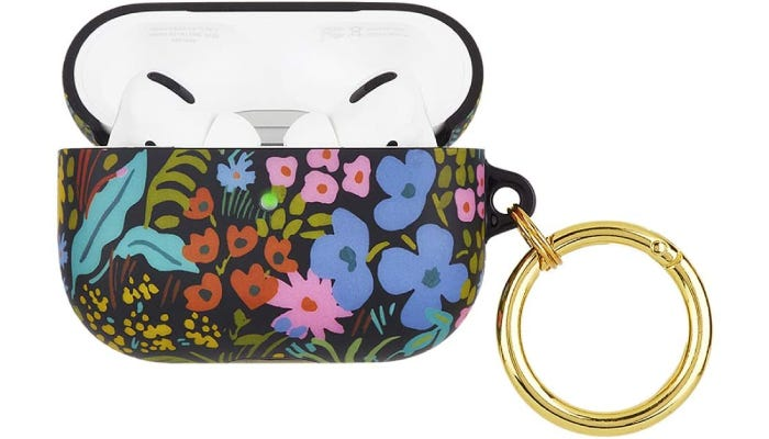 A black silicone case cover that features a variety of colorful flowers and leaves on its surface, as well as a gold metal clip.