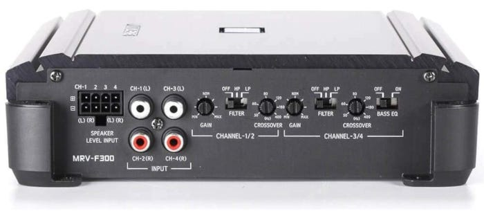 Alpine MRV-F300 4-Channel Car Amp featuring compact chassis with snap-on terminal covers