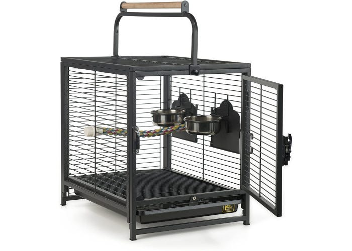 a bird carrier with a handle, black metal bars, and built-in food bowls displayed with the door open