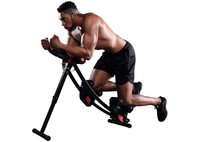Black alloy steel ab trainer with padded handles and cushioned sliding knee areas