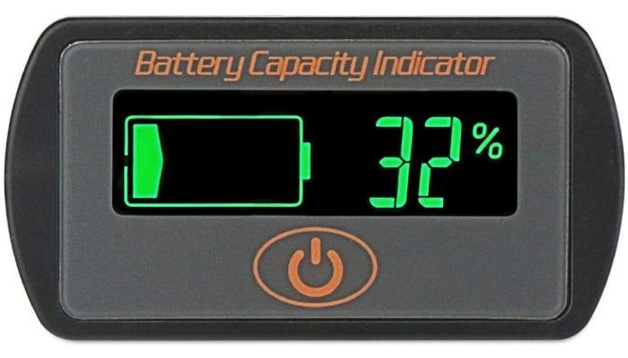 Indicator display illuminated show battery capacity at 32%