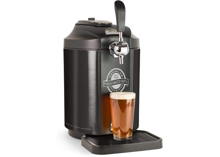A mini kegerator made of black stainless steel material with a full beer sitting on the drip tray.