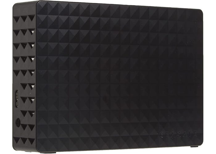 Black external hard drive with unique checkerboard design and USB 3.0 cable
