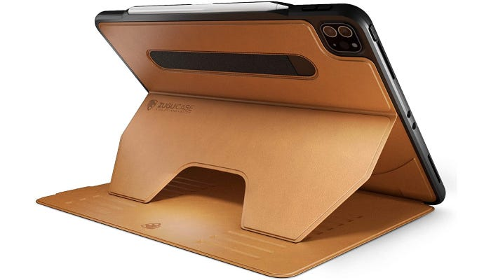 a camel-colored leather iPad stand case supporting the device