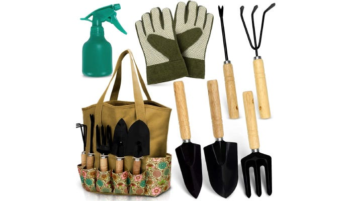 A beige tote bag storing black gardening tools with several tools, gloves and spray bottle pictured around it.