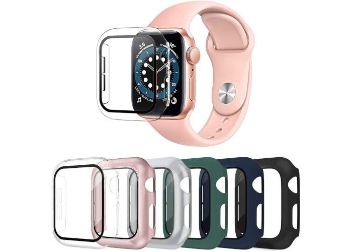 6-pack of Apple Watch cases with tempered glass screen protectors in clear, black, silver, green, blue, and pink