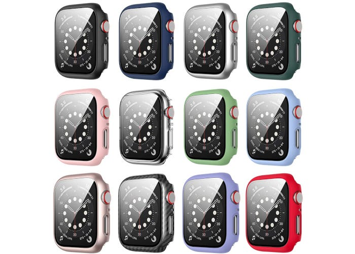 12-pack of Apple Watch cases with tempered glass screen protectors in 12 unique colors