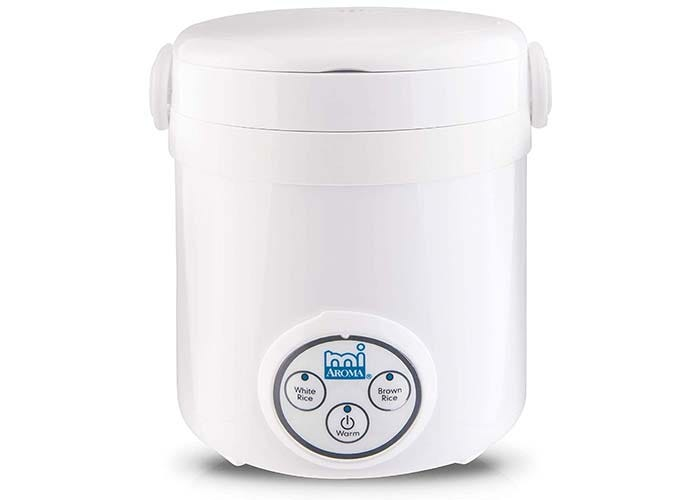 small white rice cooker with large control dial