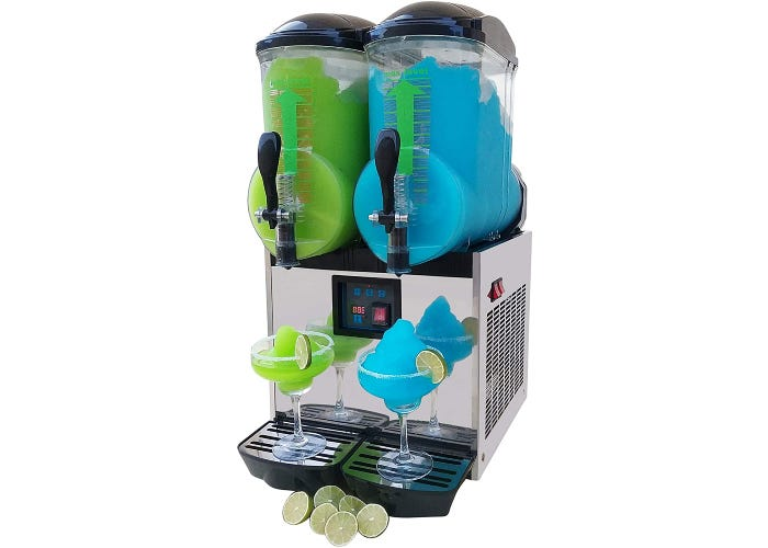 commercial margarita/slushie machine with two mixing containers