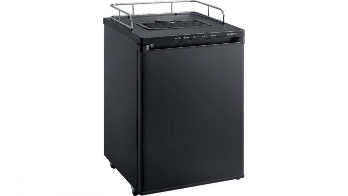 A black kegerator featuring a guard rail and mobile casters.