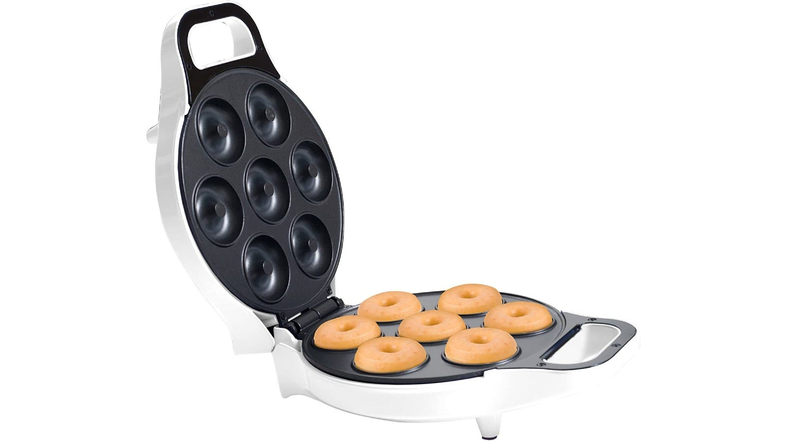 a smaller, round donut aker with seven donuts inside and a handle in the front
