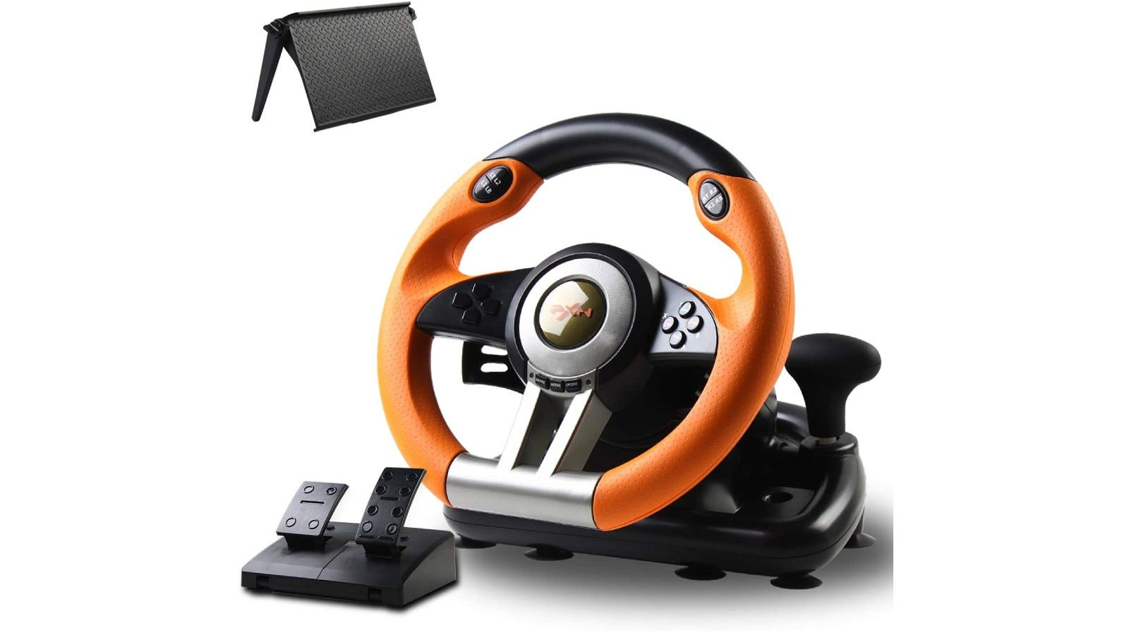 A competition racing wheel with realistic steering