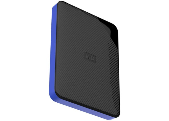 Slim black 4-TB gaming hard drive with blue side detail
