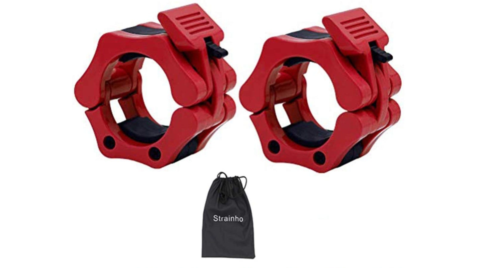two red barbell clamps with a carrying bag shown
