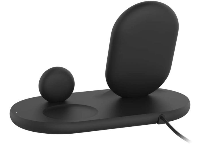 Black 3-in-1 wireless charger for iPhone, Apple Watch, and AirPods