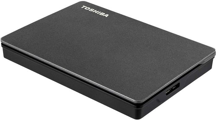 Black rectangular external hard drive with USB 3.0 technology