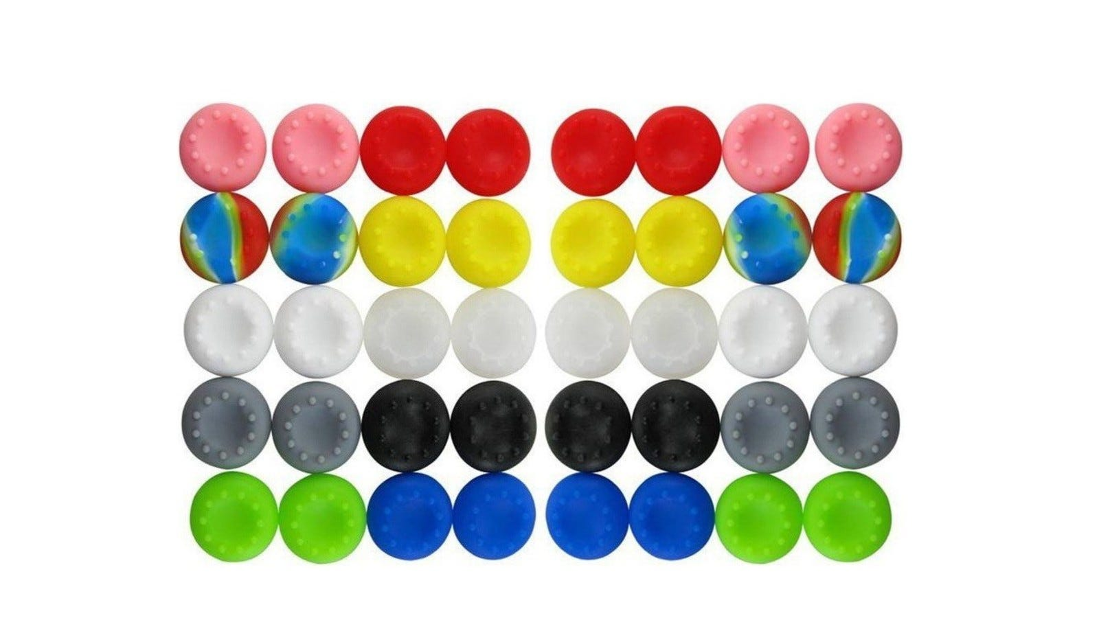 A set of 40 Xbox One thumb grips that come in various colors
