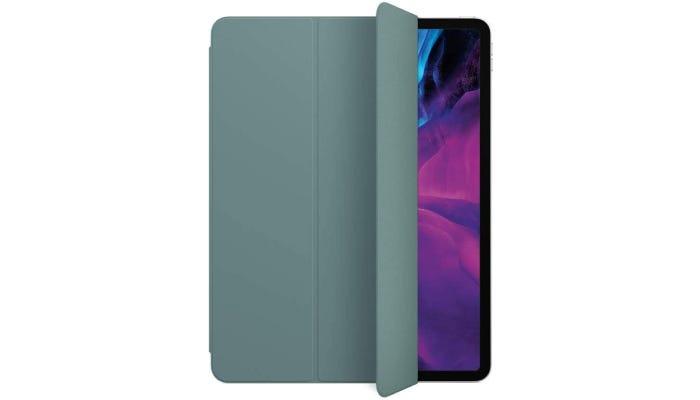a cactus-colored folio case on an iPad