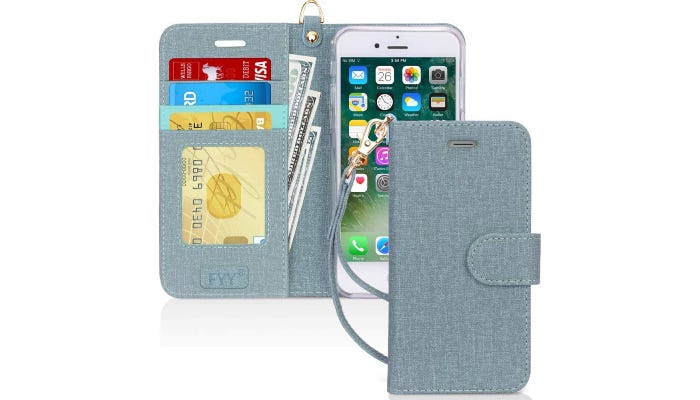 a turquoise folio phone case with a wrist strap.