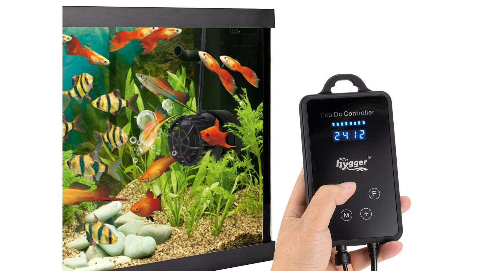 External control with lit-up LED display being used with a tank full of colorful fish.