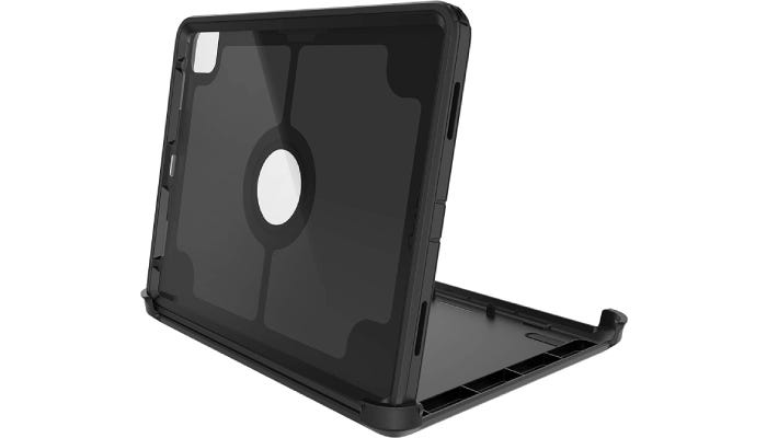 a black sturdy iPad case that is positioned standing up