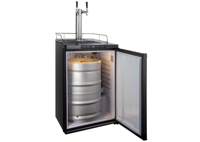 An open kegerator with a silver keg inside and two chrome faucets.
